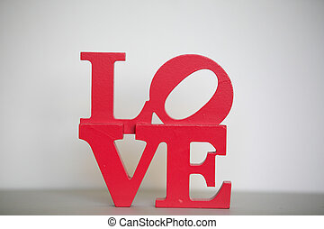 Love lettering. - Bright red love lettering.