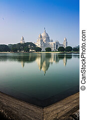 Victoria Memorial, Kolkata , India - reflection on water. A...