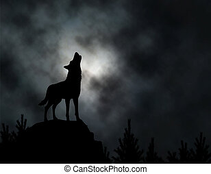 Howling wolf - Editable vector silhouette of a howling wolf...