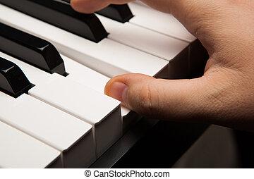 Piano keys and human finger close-up