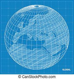 Global sphere blueprint Vector illustration