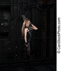 Sci-fi Heroine in Dark City Street - Futuristic science...