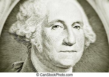 Likeness of George Washington on one dollar bill