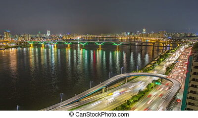 Seoul City Highway Bridge Traff - 255 Time lapse of bridges...