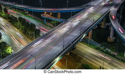 Seoul City Highway Bridge Traff - 257 Time lapse of bridges...