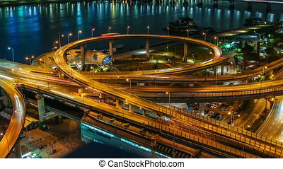 Seoul City Highway Bridge Traff - 258) Time lapse of bridges...