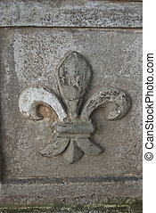 Fleur de lis - ornament of the famous fleur de lis on grey...