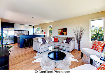 Open concept kitchen living room - Bright furnished living...