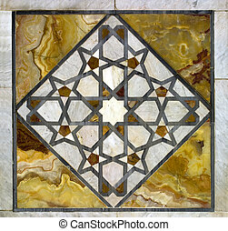 A stock photograph of ancient Arabic Art inside the Omayyad...