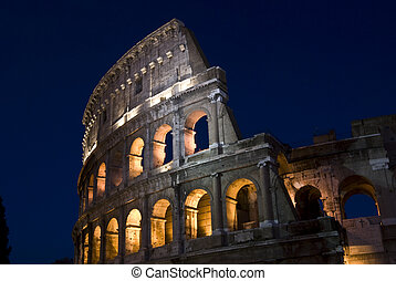 Coliseum at night - part of the famous amphitheater in Rome...