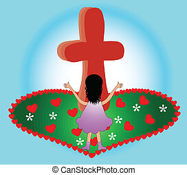Praising at the Cross - Illustration of a little girl at the...