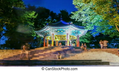 Seoul City Pagoda At Night - 261) Zooming and static time...