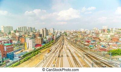 Seoul City Train Station Tracks - 263) Time lapse of train...