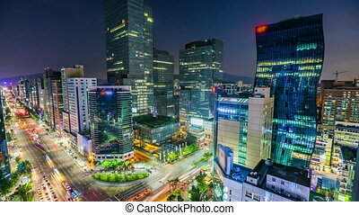 Seoul City Downtown Gangnam - 264) Time lapse of buildings...