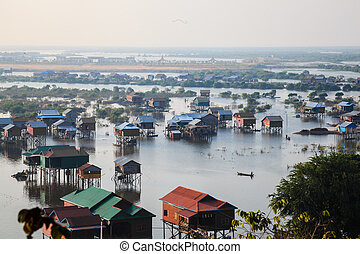 Houses in tonle sap, siem reap, cambodia