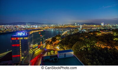 Seoul City Rooftop Birdseye Col - 268 Time lapse from on top...