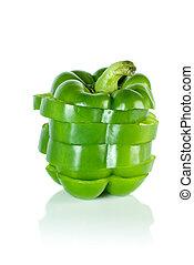 Sliced green sweet pepper