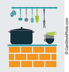 kitchen design over gray background vector illustration