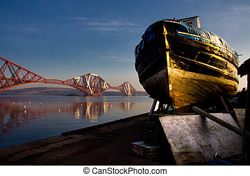 North Queensferry old ship - The Forth Rail Bridge seen from...