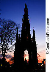 Walte scott monument sunset