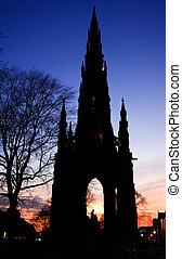Walte scott monument sunset