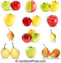 Set of different apples and pears isolated on the white...