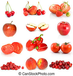 Set of red fruits, berries and vegetables isolated on the...