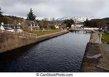 Caledonian channel in Fort Augustus, Highlands, Scotland