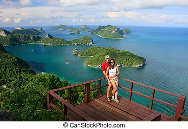 Couple standing at view point, Wua Talab island, Ang Thong...