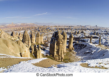 the valley of love in Goreme, Cappadocia, Turkey during the...