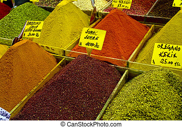 Spices and for Sale in an Istanbul Market