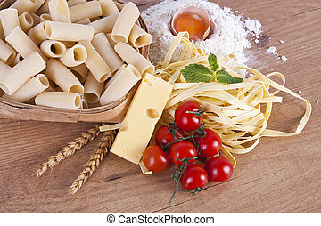 health food - fresh pasta with natural foods balanced diet