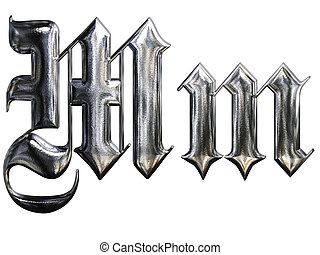 Metallic patterned letter of german gothic alphabet font....