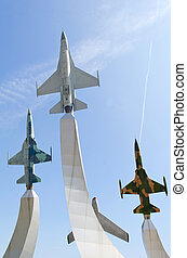 warplane monument - Group of Air Force warplane monument,...