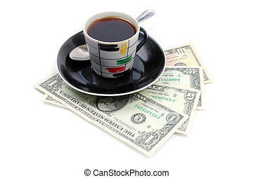 cup of the coffee and dollars - cup with strong black coffee...