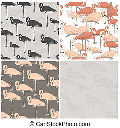 Perfect collection of 4 seamless patterns with flamingo made...