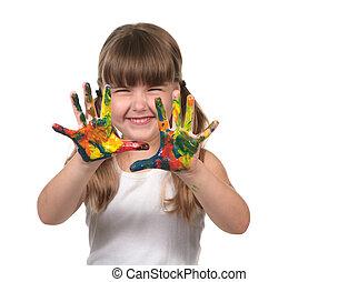 feliz, preescolar, niño, dedo, Pintura