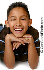 Happy Young Hispanic Mexican American Boy Smiling on White