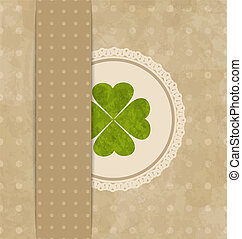 Vintage card with four-leaf clover for St. Patrick's Day