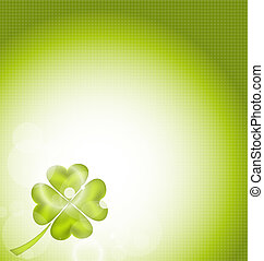 Nature background with four-leaf clover for St Patricks Day...