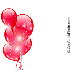 Flying red balloons isolated on white background -...