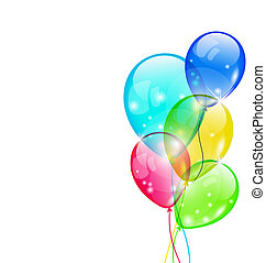 Flying colorful balloons isolated on white background -...