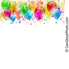 Set party balloons, confetti with space for text -...