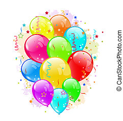 Set party balloons and confetti on white background -...