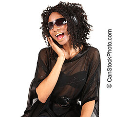 Black Woman Listening to Music on White Background
