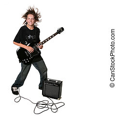 Electric Guitar Playing Teenage Kid With Eyes Closed on...
