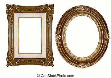 Oval and Rectangular Decorative Golden Frames Isolated on...