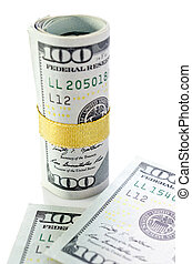 Roll of  New One hundred dollars with banknote background .