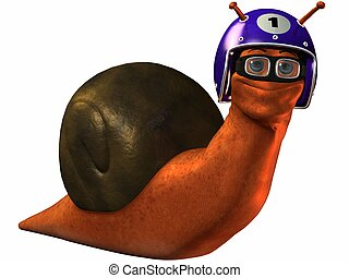 Toon Racing Snail - 3D Render of an Toon Racing Snail