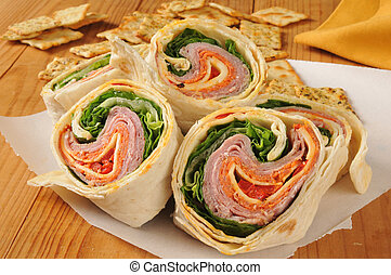 Wrap sandwich with Italian meats - Closeup of an Italian...